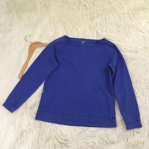 Lands' End Womens Boatneck Sweatshirt in Blue